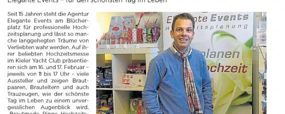 Kieler Nachrichten vom 11.2.2019 Seite 10 - Ausschnitt Hochzeitsmesse Kiel